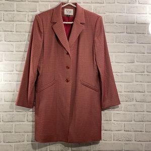 Le Suite Two Piece Coat and Skirt Set Size 12P Burgundy Tan Print Vintage